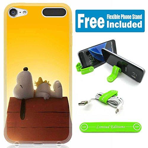 ([Ashley Cases] TPU Skin Cover Case for iPod Touch 5th/6th Generation with Flexible Phone Stand - Snoopy Sleeping)