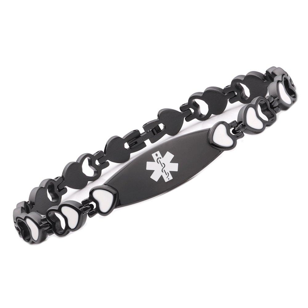Tarring Noble Black Heart Medical alert id bracelets for women-Stainless steel(6.5)