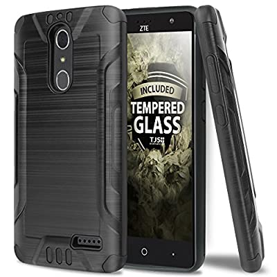ZTE GRAND X4 Case With TJS Tempered Glass Screen Protector Included, Dual Layer Shockproof Tough Brushed Hybrid Armor Drop Protection Case Cover For ZTE GRAND X4 from TJS