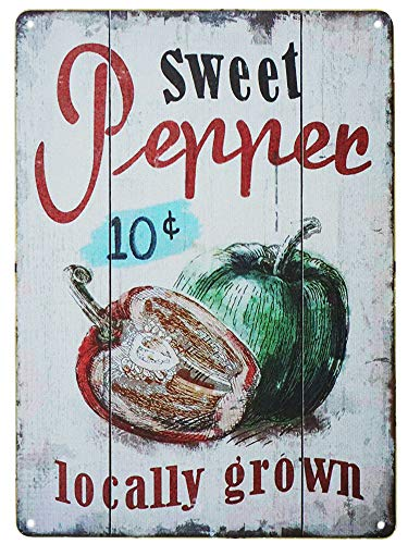 TISOSO Tin Signs 10 Cent Sweet Pepper Locally Metal Retro Vintage Plaque Bar Sign Country Bedroom Garage Creative Wall Restaurant Home Decor 8X12Inch