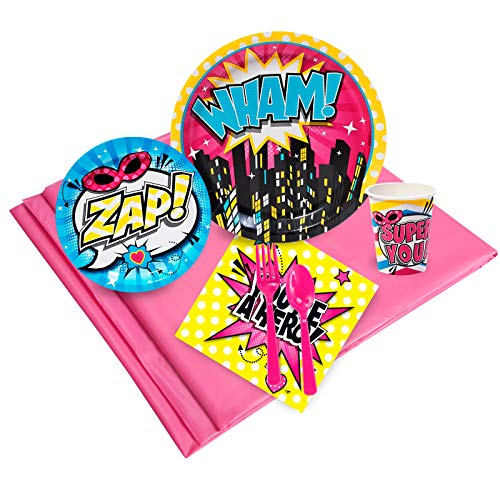 BirthdayExpress Superhero Girl Party Supplies - Party Pack for -