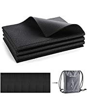 Avoalre Travel Yoga Mat for Women and Men 1/4 Non Slip Foldable Exercise Mat with Carry Bag Thick Fitness Mat for Home Gym Yoga Pilates and Floor Workouts