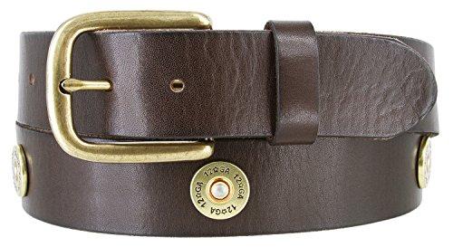 12 Gauge Shotgun Shell Full Grain Leather Belt for Men 1 1/2