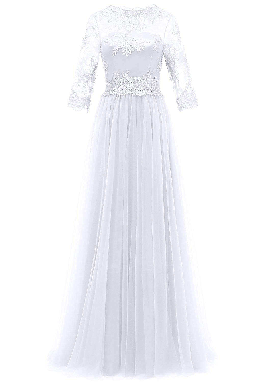 White Evening Dresses Long Sleeve Lace Formal Prom Gowns Mother of The Bride Dress