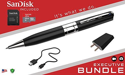 iSmartPen Plus 16GB Silver – Surveillance DVR Pen – 1280p x 960p – Business Executive Portable Educational Professional Documentation Device – Rechargeable Battery – With SanDisk MicroSD Memory