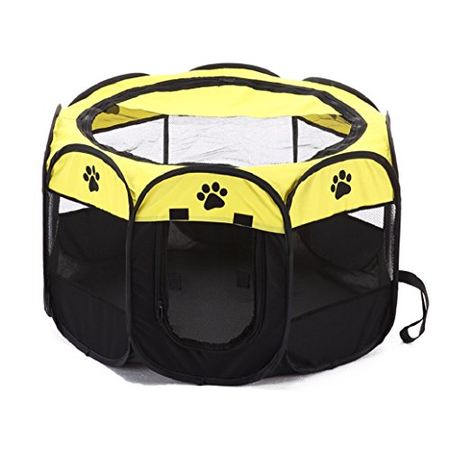 Quietcloud Portable Outdoor Folding Octangle Tent Pet Playpen Dog Puppy Cat Carrier Cage size S (Yellow) For Sale