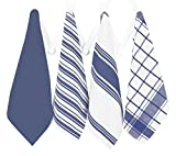 All-Clad Professional Grade Lint Free, Streak Free Oversized Luxury Cotton Towel Set, 4-Piece, Cobalt Blue