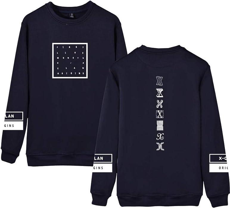 Monsta X Sudaderas Estampados para Mujeres y Hombres Suéter Manga Larga Casuales Jerseys Cuello Redondo Camisetas Hipster