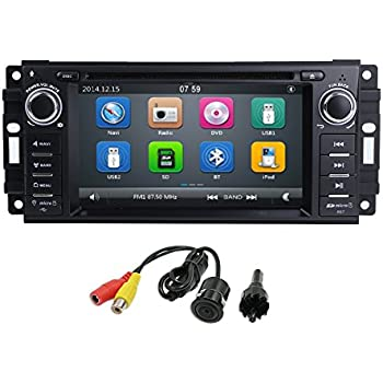 "MCWAUTO Car Stereo GPS DVD Player for Dodge Ram Challenger Jeep Wrangler JK Head Unit Single Din 6.2"" Touch Screen Indash Radio Receiver with Navigation ..."