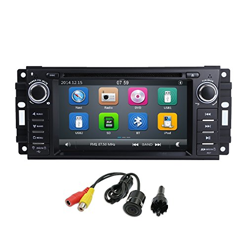 """MCWAUTO Car Stereo GPS DVD Player for Dodge Ram Challenger Jeep Wrangler JK Head Unit Single Din 6.2"""" Touch Screen Indash Radio Receiver with Navigation Bluetooth/3G (Dodge Jeep Car Chrysler Radio)"""