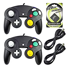 AreMe 2 Packs Game Cube Controllers with 2 Extension Cables and 128mb Memory Card for Nintendo Wii GameCube GC Console (Black)