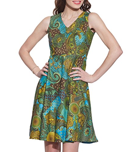 Vêtements pour femmes Robe en coton imprimé, lavable en machine, W-CPD32-1614, Taille-32 pouces