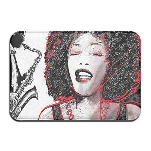 Memory Foam Bath Mat Non Slip Absorbent Super Cozy Plush Bathroom Rug Carpet,African American Girl Singing with Saxophone Player Popular Sound Design,Decor Door Mat 23.6 X 15.7 Inches