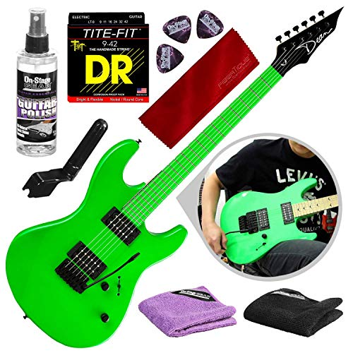 Dean Custom Zone 2 HB Solid Body Electric Guitar, Fluorescent Green with Strings & Accessory Bundle