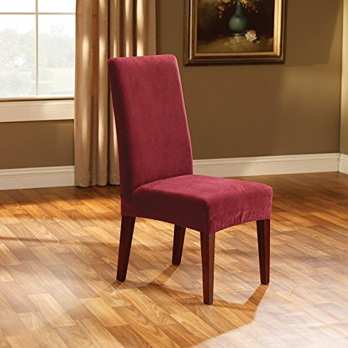 Polyester Suede Chair (Sure Fit Stretch Pique - Shorty Dining Room Chair Slipcover - Garnet (SF36850))