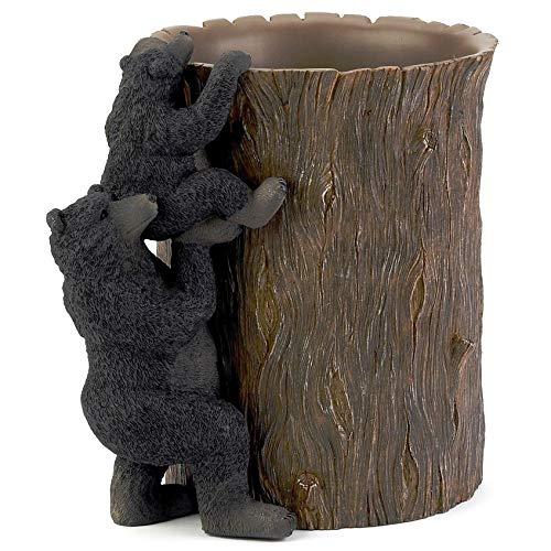 MISC Black Bear Waste Basket, Brown Rustic Design Bears Animal Themed Garbage Can, Hunting Lodge Cabin Cottage Wildlife Nature Woods Bathroom Any Room Trash Bin Wastebasket, Resin