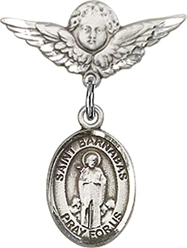 Sterling Silver Baby Badge with St Barnabas Charm and Angel with Wings Badge Pin Jewels Obsession Baby Badge with St Barnabas Charm and Angel with Wings Badge Pin Made In USA