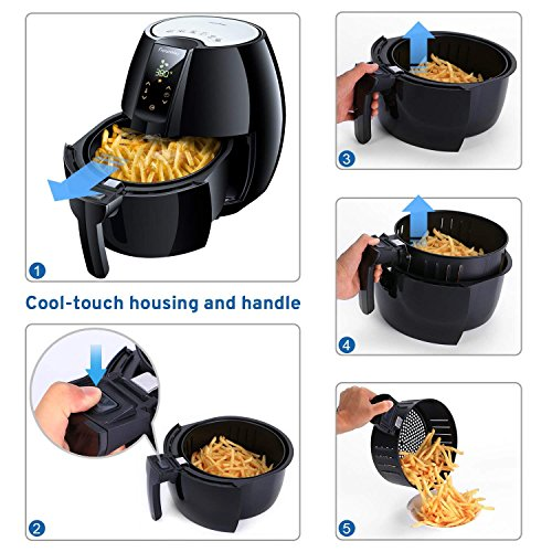 FrenchMay Touch Control Air Fryer, 3.7Qt 1500W, Comes with Recipes & Cook Book (Black) by FrenchMay Air Fryer (Image #4)
