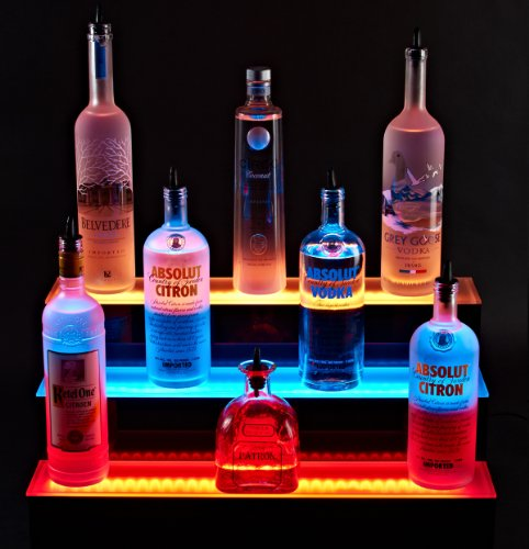 Armana Productions Bottle Shelf - 3 Tier LED Lighted Liquor Bottle Display Stand 4' Long, 3 Step Bar Bottle Shelving