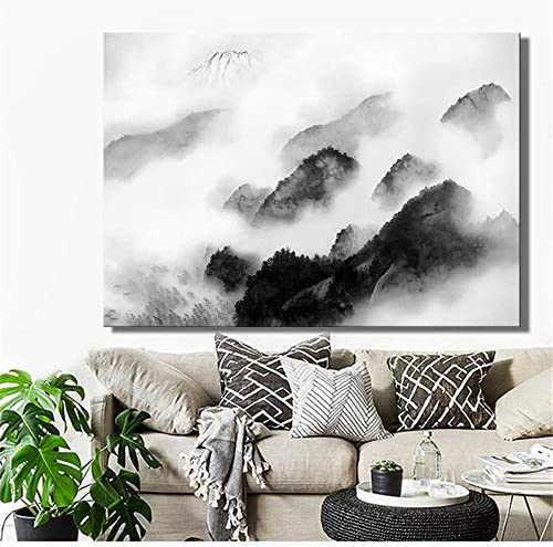 伝統的な中国インク風景ポスターと版画壁アートキャンバス絵画装飾写真用リビングルーム家の装飾50×70センチなしフレーム