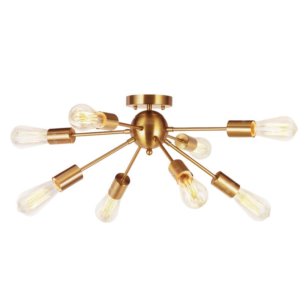 8-Light Sputnik Chandelier Brushed Brass Semi Flush Mount Ceiling Light Modern Pendant Light for Kitchen Bathroom Dining Room Bed Room Hallway by VINLUZ