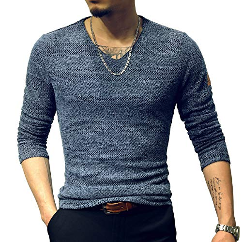 LOGEEYAR Mens Classic Fitted Mesh Long-Sleeve V-Neck T-Shirt (X-Large, L-Blue)