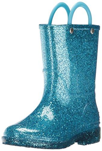 Western Chief Girls Glitter Rain Boot, Turquoise, 11 M US Little (Girls Blue Boots)
