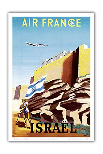 Israel - Zionist Heroic Girl Holding Israeli Flag - Walls of Jerusalem - France - Vintage Airline Travel Poster by Renluc c.1949 - Master Art Print - 12in x 18in