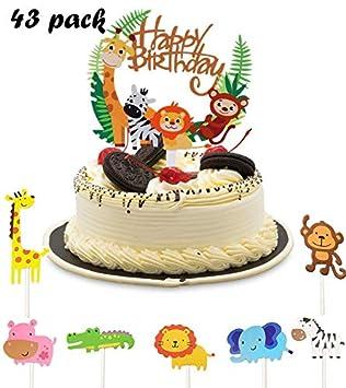 Animal Cupcake Toppers,Selva Fiesta de Cumpleaños Decoracion ...