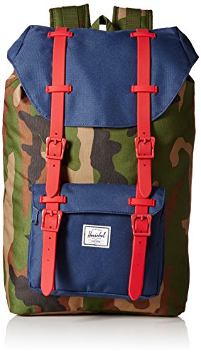 Herschel Supply Co. Little America Mid-Volume Rubber, Woodland Camo/Navy/Red, One Size