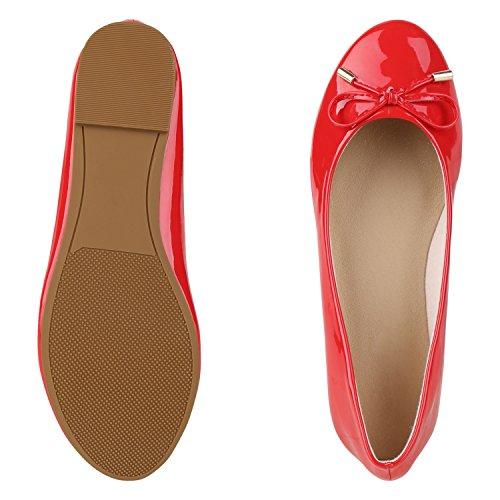 napoli-fashion Klassische Damen Ballerinas Metallic Flats Schleifen Elegante Lack Slippers Glitzer Schuhe Flache Abendschuhe Abiball Jennika Rot Schleife