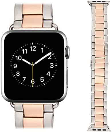 Apple Watch Band, AWStech New 38mm Stainless Steel Replacement Smart Watch Band Wrist Strap Bracelet with Butterfly Buckle Clasp for Apple Watch All Models - Rose Gold Silver
