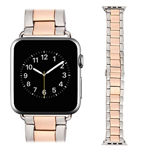 Apple-Watch-Band-AWStech-New-38mm-Stainless-Steel-Replacement-Smart-Watch-Band-Wrist-Strap-Bracelet-with-Butterfly-Buckle-Clasp-for-Apple-Watch-All-Models-Rose-Gold-Silver