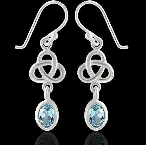DTPsilver - Boucles d'oreilles Femme en Argent Fin 925 Celtique Trinité avec Topaze bleue