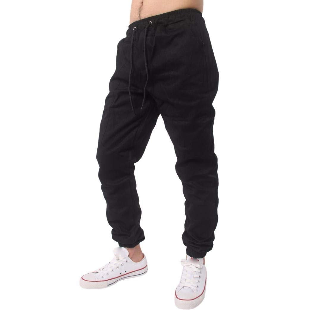 Realdo Clearance, Men Casual Slack Solid Harem Sweatpants Jogger Pant Sportwear Baggy Comfy (XXXXX-Large,Black)