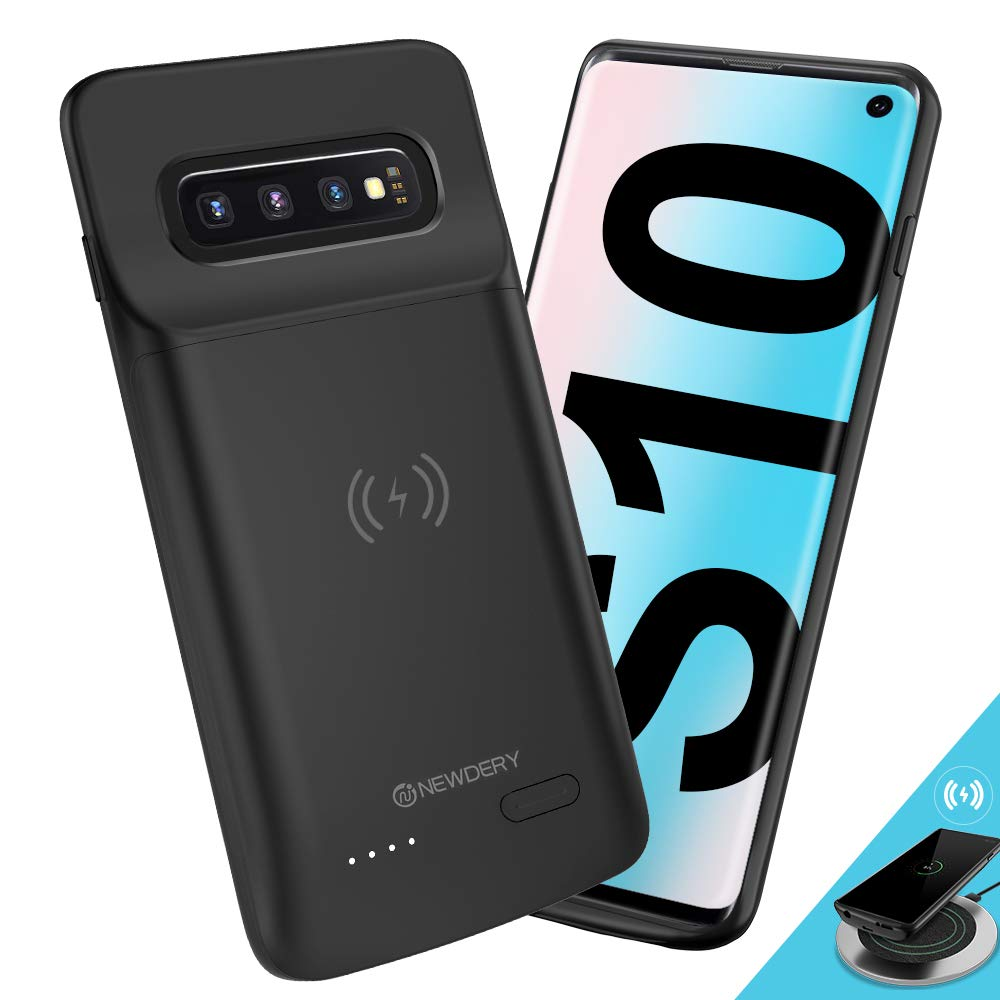 NEWDERY Upgraded Samsung Galaxy S10 Battery Case Qi Wireless Charging Compatible, 4700mAh Slim Rechargeable Extended External Charger Case Compatible Samsung Galaxy S10 (2019)-(6.1 Inches Black) by NEWDERY