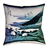 ArtVerse Katsushika Hokusai Japanese Cranes in Cool Tones Floor Pillows Double Sided Print with Concealed Zipper & Insert, 36'' x 36''