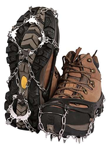 REDCAMP Footwear Traction Cleats,19 Teeth Ice Snow Grips Crampons for Hiking Climbing,Black 1 pair