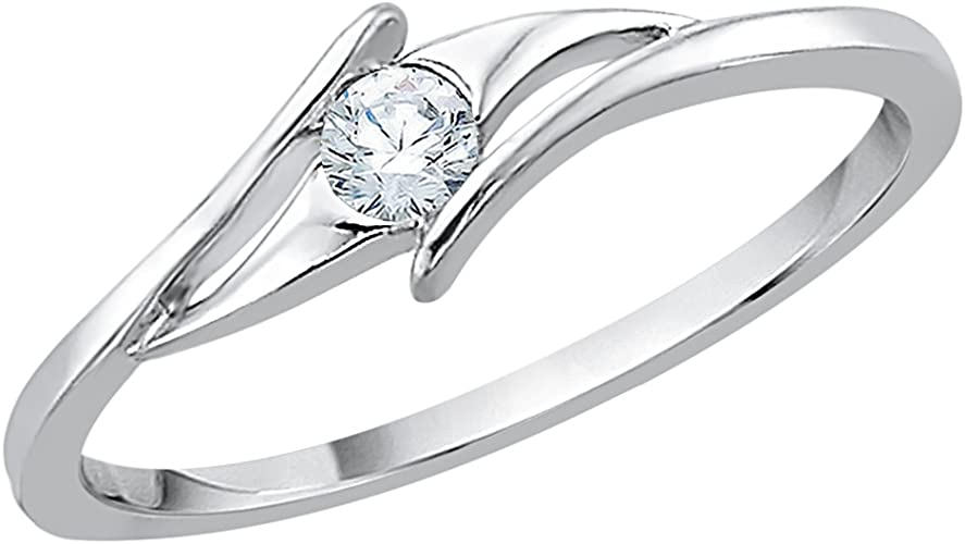 Size-3.5 G-H,I2-I3 1//20 cttw, 3 Diamond Promise Ring in 10K Yellow Gold