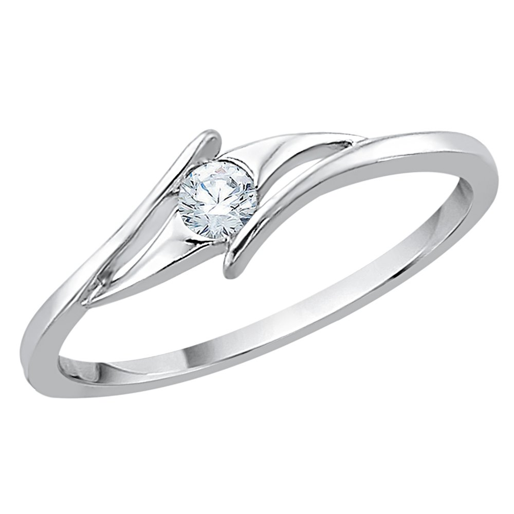 Diamond Bypass Promise Ring in Sterling Silver (1/10 cttw) (I-Color, SI3-I1 Clarity) (Size-6.5)