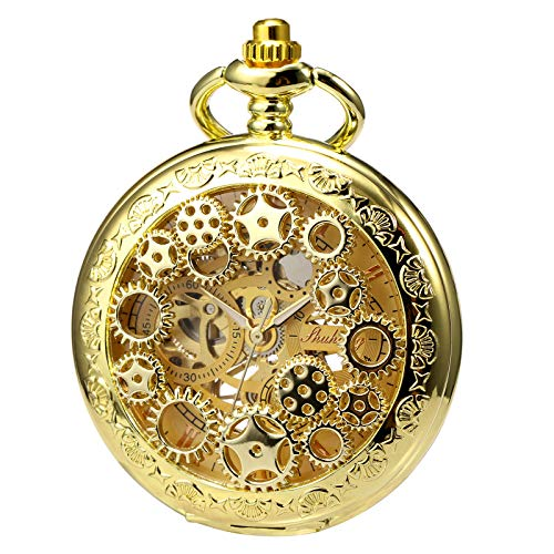TREEWETO Mens Womens Mechanical Skeleton Pocket Watch Golden Gear Hollow Case Steampunk Blue Hands Fob Watches with Chain Box
