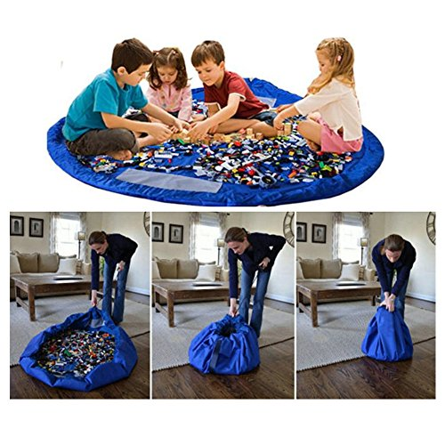 CHICIEVE Toy Storage Bag,Child Waterproof Foldable Rug Play Mat Toy Storage Bag Drawstring Organizer 59Inch Kids Play Mat 150CM (Blue) by CHICIEVE