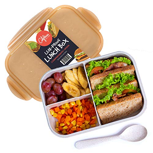 Bento Box Lunch Box, Food Container with Lid, 3 Compartment Bento Box Container for Meal Prepping, Reusable Food Prep Container, BPA Free Container with Compartments, Bento Lunch Box for Adults & Kids