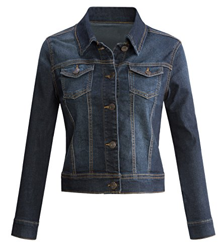 URBAN K WOMENS Long-Sleeve Button Up Denim Jean Jacket,UBK710_Dark,X-Large (Dark Denim Jean Jacket)