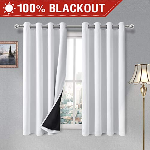 (DWCN 100% White Blackout Curtains - Thermal Insulated, Energy Saving & Noise Reducing Bedroom and Living Room Lined Curtains, W 52 x L 72 Inch, Set of 2 Grommet Curtain Panels)