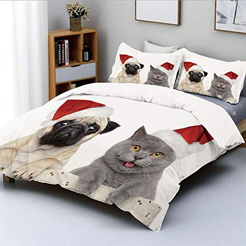 SINOVAL Christmas Themed Animal Photography with a Cat and Dog Wearing Santa Hats College Dorm Room Decor Decorative Custom Design 3 PC Duvet Cover Set Twin/Twin Extra Long -