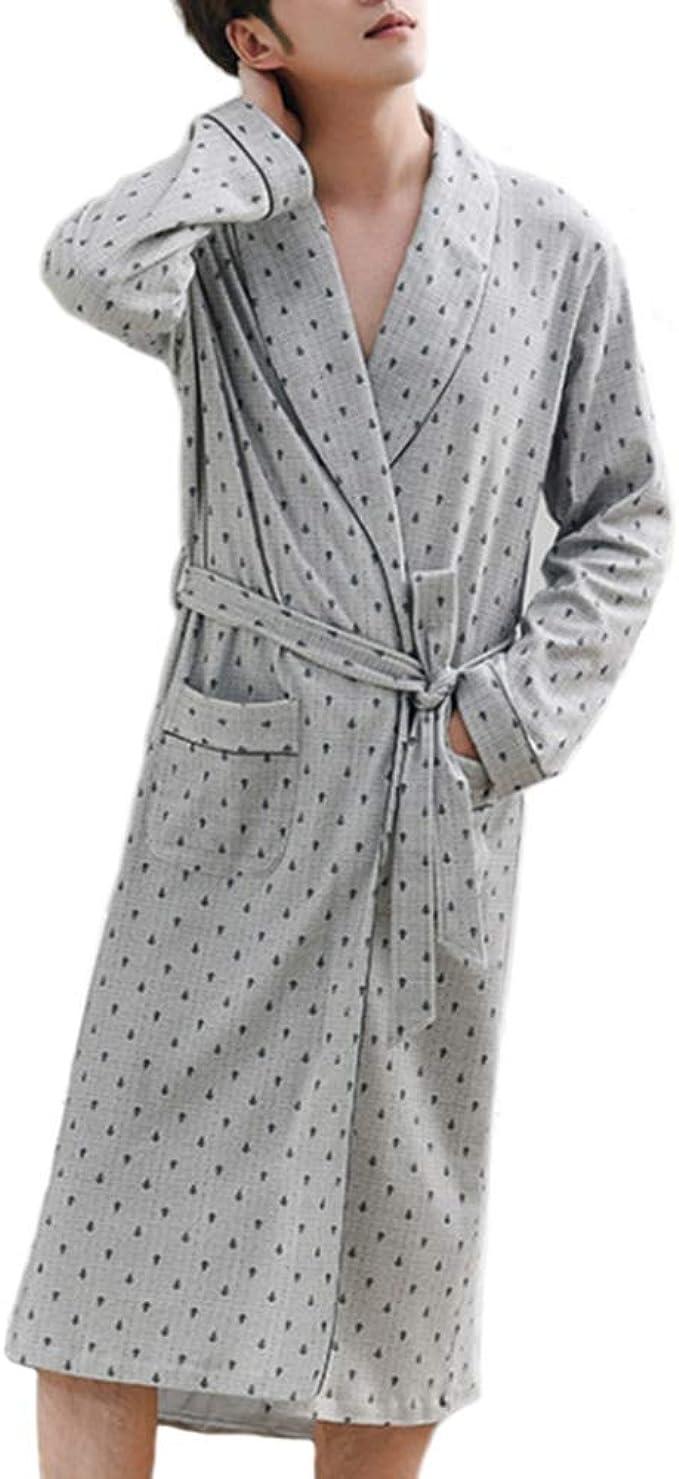 Primavera Otoño Albornoz Hombres Algodón Dormir Top Kimono ...