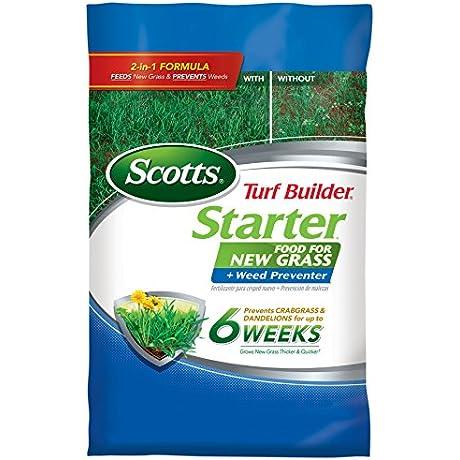 Scotts Turf Builder Lawn Food Starter Food For New Grass Plus Weed Preventer 5 000 Sq Ft Starter Lawn Fertilizer Plus Crabgrass Dandelion Weed Preventer Not Sold In FL