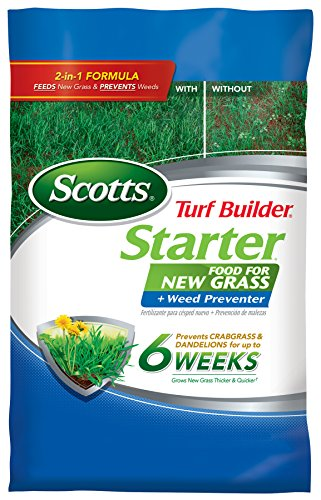Scotts Turf Builder Lawn Food - Starter Food for New Grass Plus Weed Preventer, 5,000-sq ft (Starter Lawn Fertilizer Plus Crabgrass, Dandelion & Weed Preventer) (Not Sold in FL) (Scotts Food)
