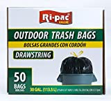 Ri-Pac Outdoor Trash Bags 30 Gallon, Drawstring (50 Count)